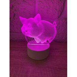 Lampe LED Illusion 3D Cochon