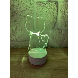 LED Lamp Illusion 3D Cat