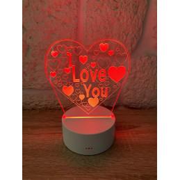 LED Lamp Illusion 3D I Love...