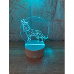 LED Lamp Illusion 3D Wolf