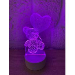 LED Lampa Ilúzia 3D Macko a...