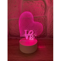 LED Lamp Illusion 3D LOVE