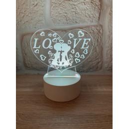 LED Lamp Illusion 3D Love...