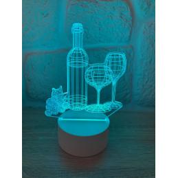 LED Lamp Illusion 3D Wine