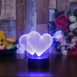 LED Lamp Illusion 3D 2 Hearts