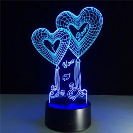 LED Lamp Illusion 3D Hearts