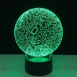 LED Lamp Illusion 3D Number