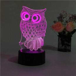 LED Lamp Illusion 3D Owl