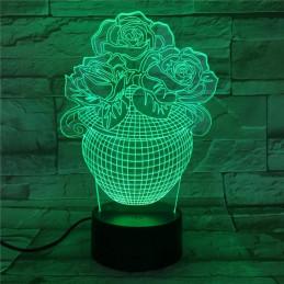 LED Lamp Illusion 3D Flowers