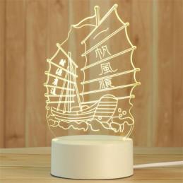 LED Lamp Illusion 3D Ship 1