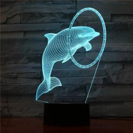 LED Lamp Illusion 3D Dolphin