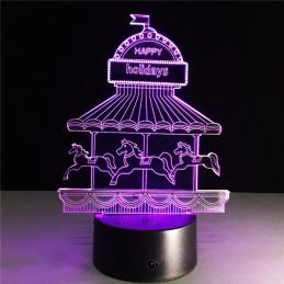 LED Lamp Illusion 3D Carousel