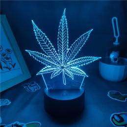LED Lamp Illusion 3D Cannabis