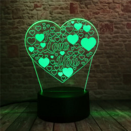 LED Lamp Illusion 3D Heart