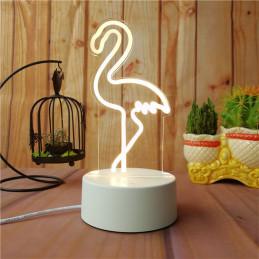 LED Lamp Illusion 3D Flamingos